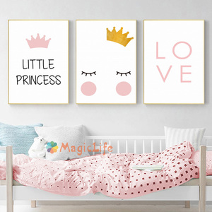 Image 3 - נסיכה קטנה משתלת קיר אמנות בד ציור נורדי פוסטר לילדים חדר Cuadros קיר תמונות קישוט ממוסגר