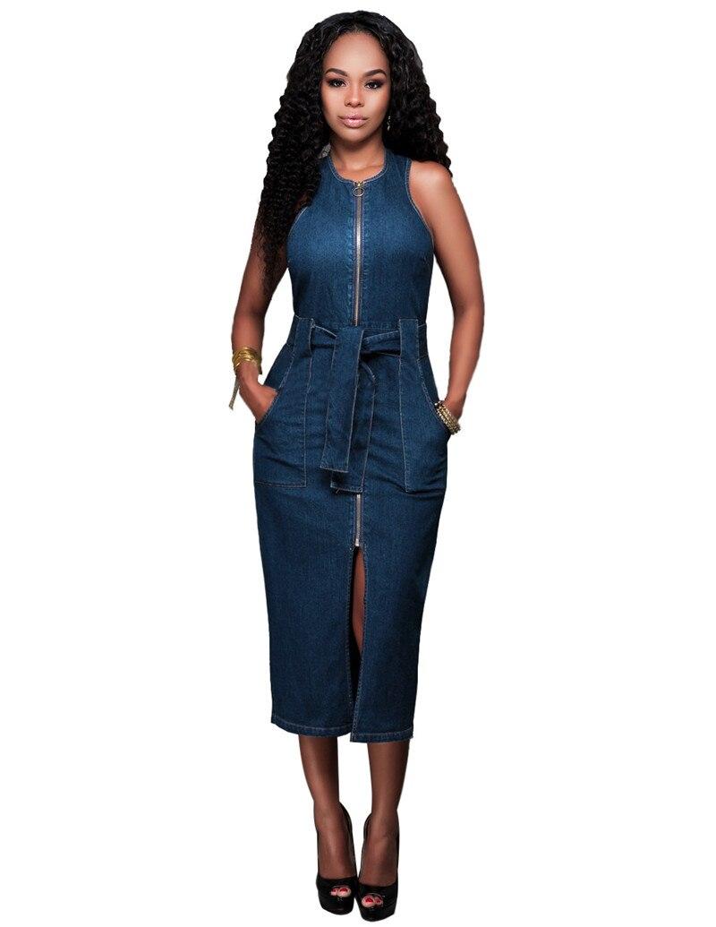 Women Denim Dress 2016 Fashion Front Zipper Slim Hip ...