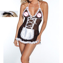 Women's Back sexy erotic costume babydoll Sexy Lingerie 2016 women bandage lenceria sexy hot erotic sexy costumes