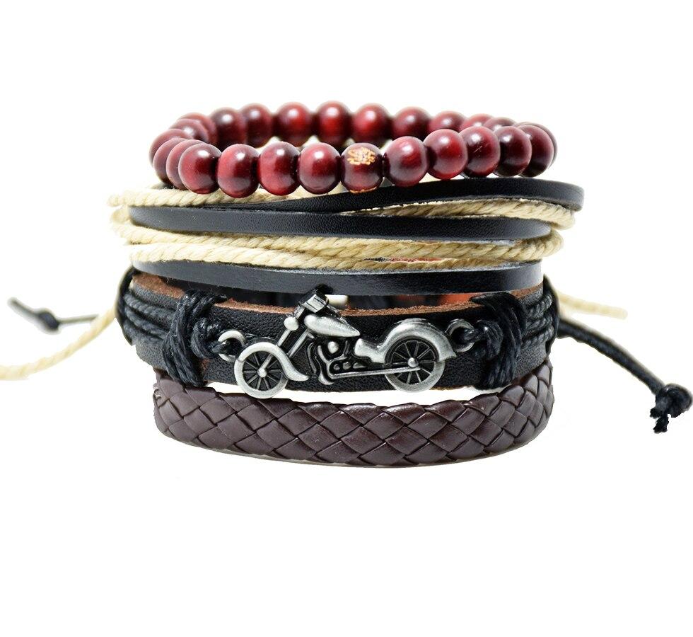 1set 4pcs Fashion Jewelry Acsessory Bracelet Motorbike Woven Beaded Leather Bracelet Men Casual Vintage Bracelet