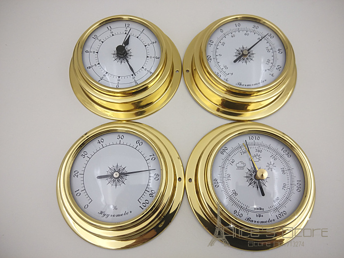 """4 pcs/set 3"""" Brass Case Traditional Weather Station Barometer Temperature Hygrometer Humidity and Clock (White Dial) b2804"""