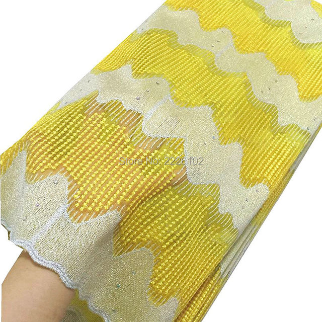 Dubai wholesale market embroidered tulle lace fabric yellow newest  fabric for dresses white lace fabric