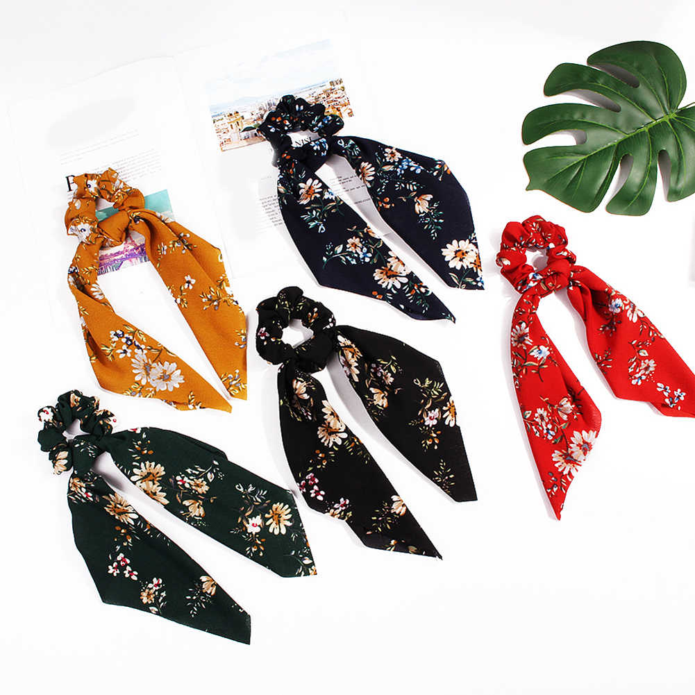 New 2019 Leopard Snake Floral Dot Streamers Scrunchies Women Hair Scarf Elastic Bow Hair Rope Ribbon Band Girls Hair Accessories