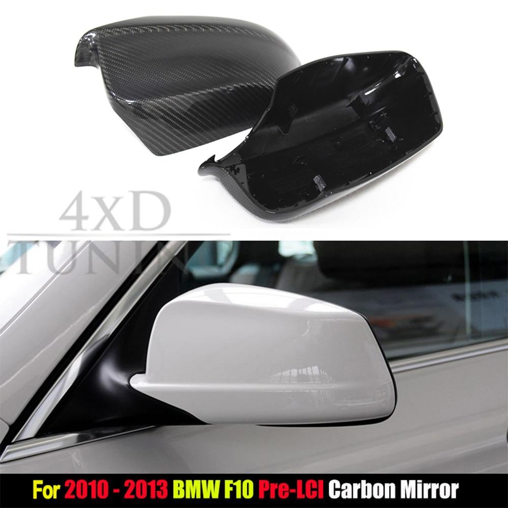 For BMW F10 Carbon Mirror Carbon Fiber Rear View Mirror Cover 5 Series F10 Sedan 4-doors car 520i 525i 528i 530i 535i 2010-2013 zhaoyanhua car floor mats for bmw 5 series e39 520i 525i 530i 535i 540 526d 530d heavy duty special car styling 6d carpet liners