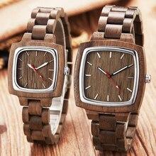 עץ שעון זוג גברים נשים מאהב מתנות יד שעונים זכר נקבה חום אגוז עץ כיכר חיוג קוורץ שעוני יד Reloj שעון