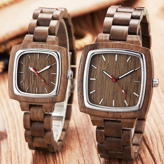 Ahşap sevgili saati erkekler kadınlar Lover hediye bilek saatler erkek kadın kahverengi ceviz ahşap kare Dial kuvars kol saati Reloj saat