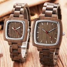 En bois Couple montre hommes femmes amant cadeau montres hommes femmes brun noyer bois cadran carré Quartz montre bracelet Reloj horloge
