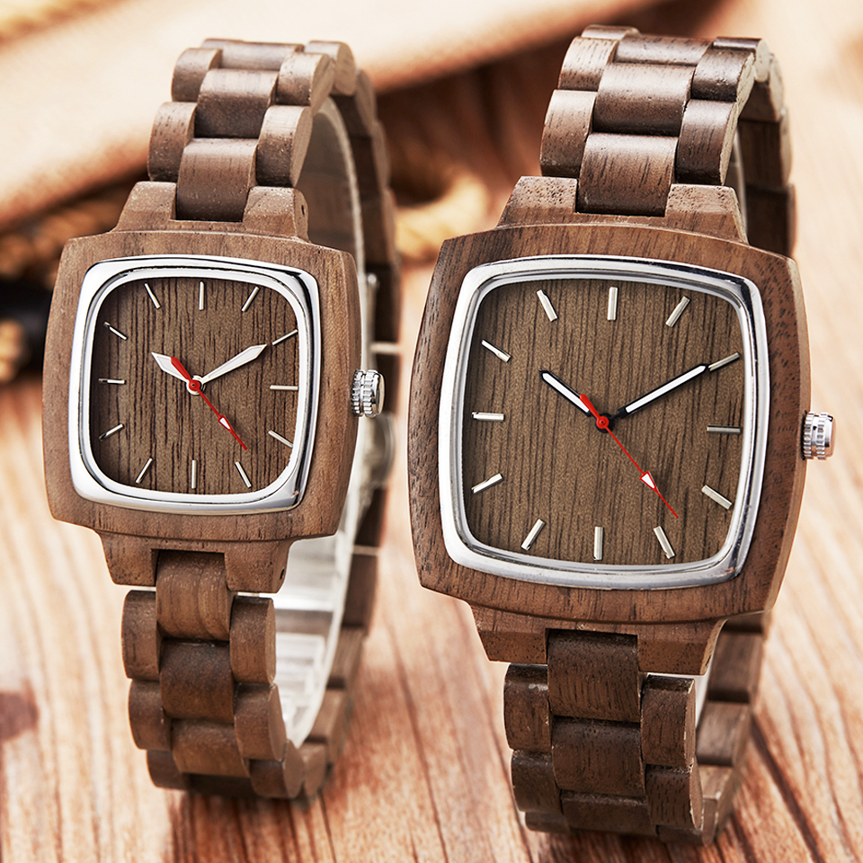 Wooden Couple Watch Men Women Lover Gift Wrist Watches Male Female Brown Walnut Wood Square Dial Quartz Wristwatch Reloj Clock-in Lover's Watches from Watches