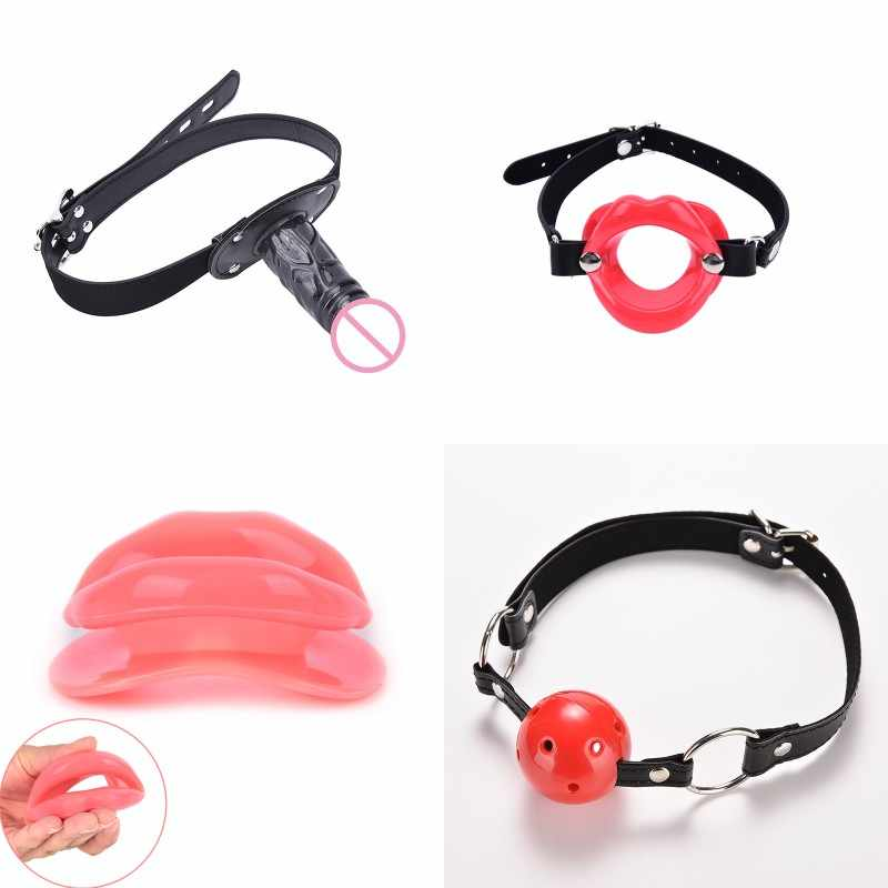 Erotic Toy Restraints BDSM Fetish Leather Rubber Lips O Ring Open Mouth Gag Bondage New Adult Sex Toys For Women Couple