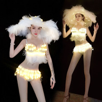 LED Stage Costumes New Christmas Performance Dress Nightclub Singer Yellow Soft Feather Jazz Suit Leading Dancer Evening Skirts