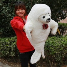 large 60cm cute white seal plush toy bowtie seal soft doll throw pillow birthday gift s0095