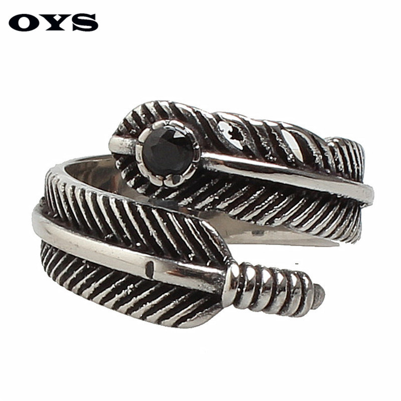 Nice Cool Men Vintage Feather Ring Punk Style Charms Stainless Steel Rings For MOTOR CYCLES Rider Men Fashion Jewelry