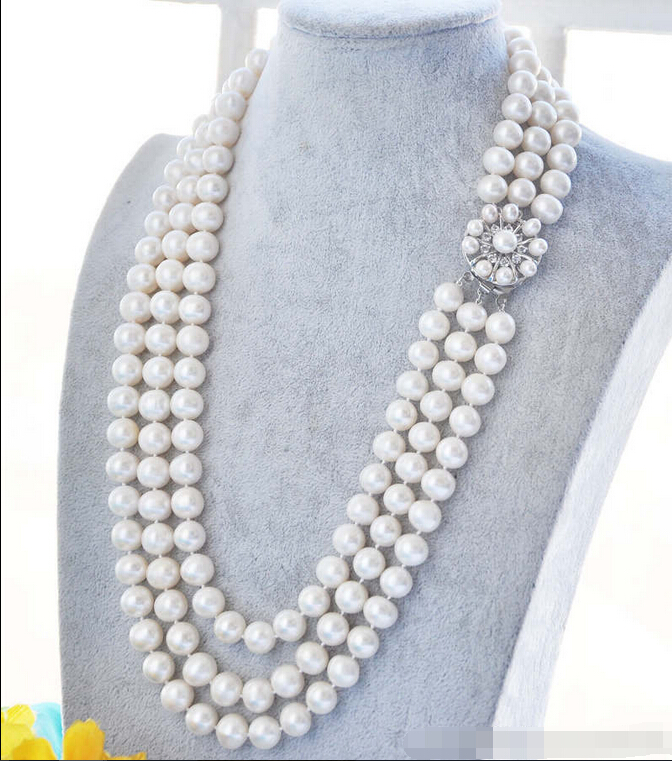 Free shipping >>>>>> 3STRANDS 8-9mm ROUND WHITE FRESHWATER PEARL NECKLACE 17-19
