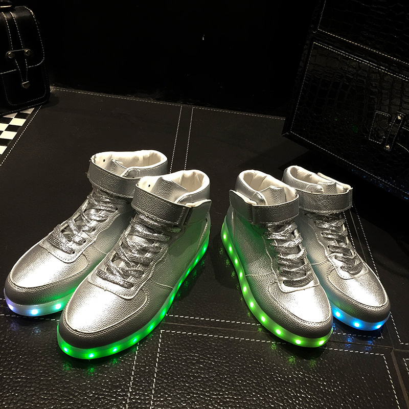 ФОТО Sliver Neon Basket Unisex Led Shoes for Adults Valentine Usb Rechargeable Men Casual Shoes High Top Luminous Shoes G52 35