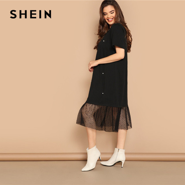 SHEIN Plus Size Casual Black Pearl Beading Partchwork Sheer Dot Mesh Hem Women Straight Dresses 2019 Summer Short Sleeve H Dress 1