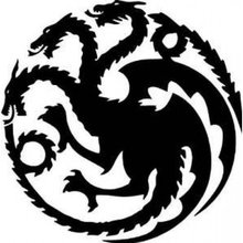 Game of Thrones House Targaryen Khaleesi Dragons Logo Vinyl Sticker Decal HBO for Car Truck Mac (5.5 inches (Black)
