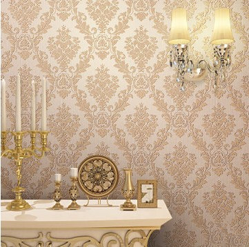 European Modern Style Pvc Classic Damask Flower Red Wallpaper Part 34