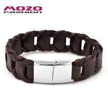 Mozo fashion rock hombres pulsera ancha pulsera de cuerda de cuero de la vendimia de acero inoxidable corchetes de la pulsera magnética de la joyería ocasional ps3002