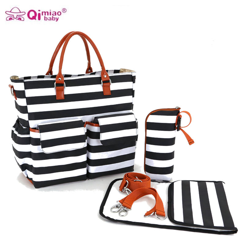 Canvas Stripes Luiertas Baby Stroller Diaper Tote Mummy Maternity Nappy Messenger Bag Organizer Bags For Mom Mother Handbag 5 in 1 diaper bag set baby changing maternity infant stuff storage tote nappy bags mummy storage bags fashion baby stroller bags