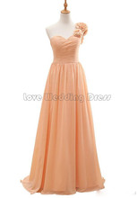 Elegant One Shoulder Long bridesmaid dresses Ruched Draped wedding party gown Flowers for formal party vestido