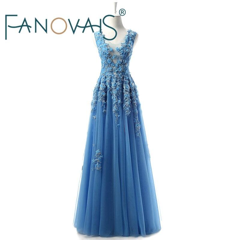 Robes de soirée bleues longues robes de bal perlées 2019 robe de soirée robe de soirée en dentelle tulle robes de soirée