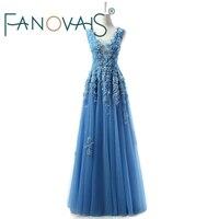 Blue Evening Dresses Long Beaded Prom Dresses 2019 Vestido de festia robe de soiree lace tulle evening Gowns