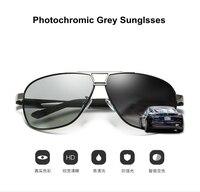 f02e8db972 2019 New Arrival Photochromic Sunglasses Men Business Concise Style  Polarized Photochromic Grey Yellow Pilot Sunglasses UV400