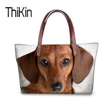 THIKIN Mulheres Moda Bolsas Bolsas de Ombro Saco Dachshund Beagle Impresso  Top-handle Bags para Mulheres Senhoras Meninas Bolsa . ad4e87acfab