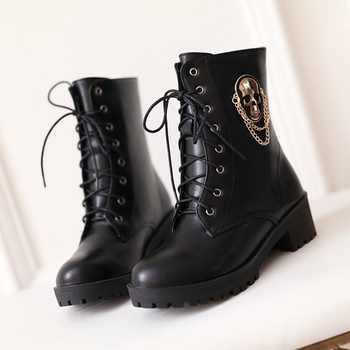 MORAZORA 2021 hot sale ankle boots for women skull street lace up platform women\'s boots fashion ladies autumn winter boots shoe