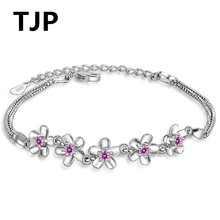 TJP Cute Purple Flower Design Women Bracelets Jewelry Top Quality 925 Sterling Silver Bangle