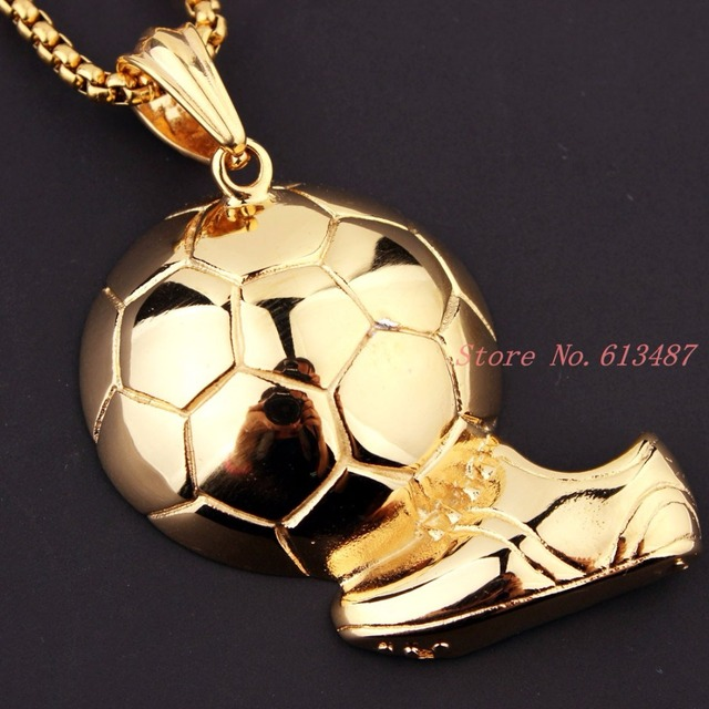 Sporty necklace football pendant with chain stainless steel soccer sporty necklace football pendant with chain stainless steel soccer necklace gold menwomen sport ball mozeypictures Image collections