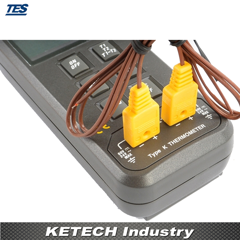 T1-T2 Differential Measurement Dual Input Digital Thermometer TES-1303