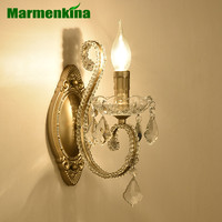 American style wall lamp bedside bedroom study aisle stairs balcony simple iron retro crystal candle wall light E14 AC110 240V