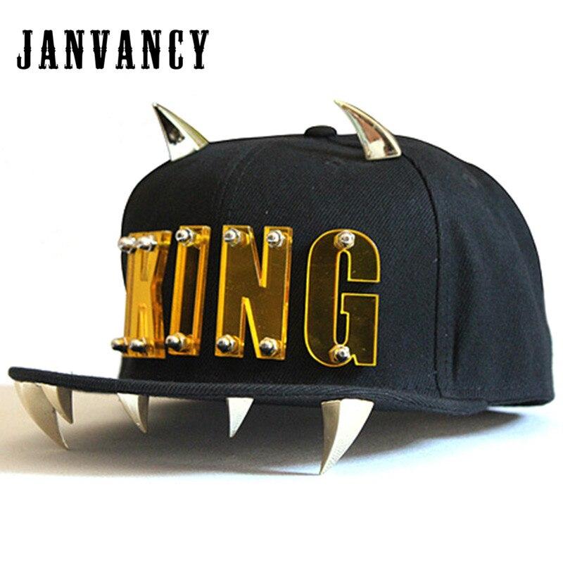 Janvancy Punk KING Baseball Caps Men Women Dancing Shows Aike Letter Hip Hop Snapback Flat Bone Hat with Horns new brand cdg bone gorras men letter play snapback love vintage velour hip hop baseball caps yjwc692