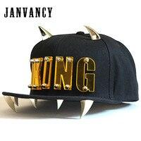 Janvancy Punk KING Baseball Caps Men Women Dancing Shows Aike Letter Hip Hop Snapback Flat Bone Hat with Horns