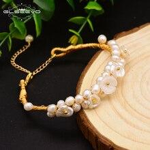 GLSEEVO Original Handmade Natural Pearl Shell Flower Adjustable Bracelet For Women Daughter Gift Fine Jewelry Bileklik GB0110