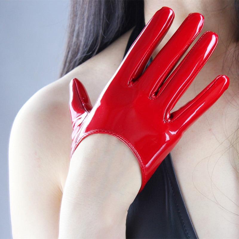 Stylish PU Leather Half Palm Gloves Mittens