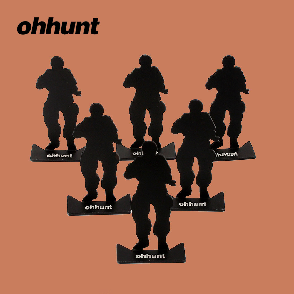 ohhunt Tactical Accessories 6pcs Metal Target Modle 80*44mm Size Black for Hunting Shooting Exercise