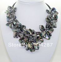 natural Black pearl black shell mother of pearl 7 flower pendant necklace