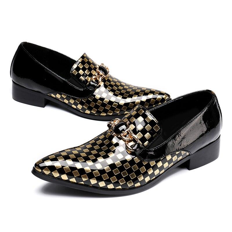 Sl107 Hochzeit Mann Strass On Schuhe Faulenzer Plaid Runway Schwarzes Slip Size Italienische Spitzschuh Plus Rocker Lackleder Herren IAXxZwq
