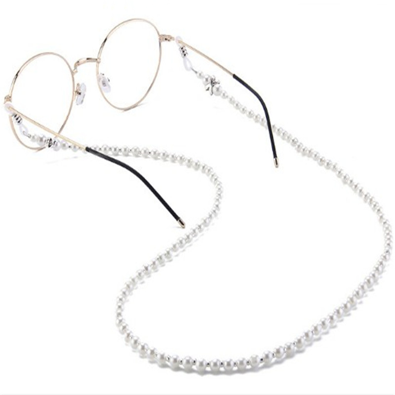 Fashion Women's Pearl Eyeglass Chains  Sunglasses Reading Beaded Glasses Chain  Eyewears Cord Holder Neck Strap Rope 1pcs