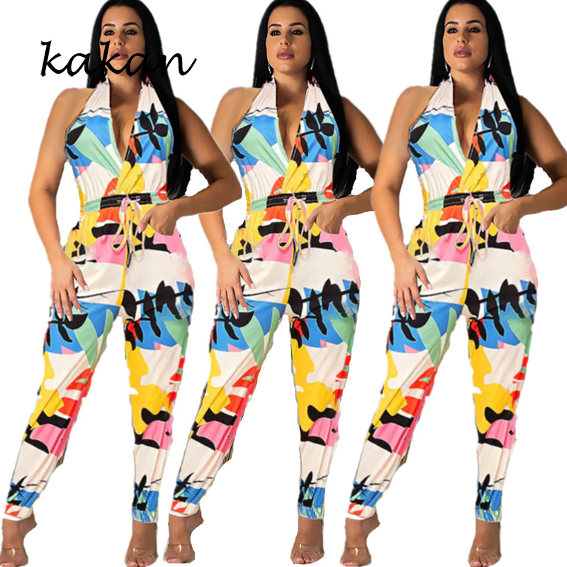 Summer new best women 39 s jumpsuit fashion sexy hanging neck backless V neck jumpsuit with belt in Jumpsuits from Women 39 s Clothing