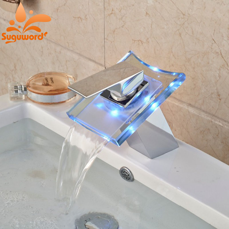 LED Glass Waterfall Bathroom Basin Faucet Square Vanity Sink Mixer Tap Chrome Finish Tap glass waterfall spout bathroom basin faucet vanity mixer tap chrome 1 handle tap l 1615