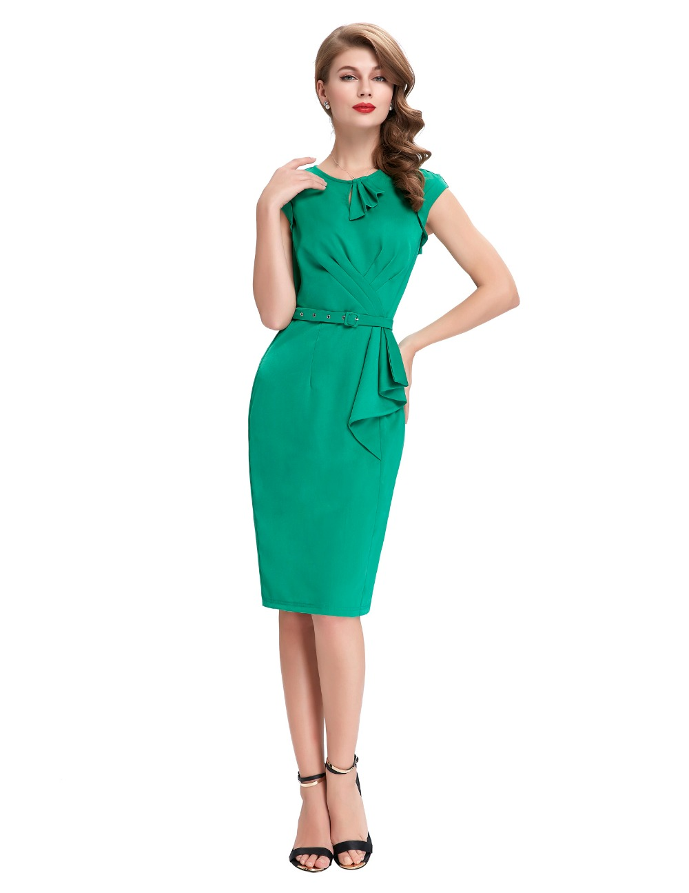Short Prom Dresses Vintage Green Pencil Dress Robe Femme Belle ...