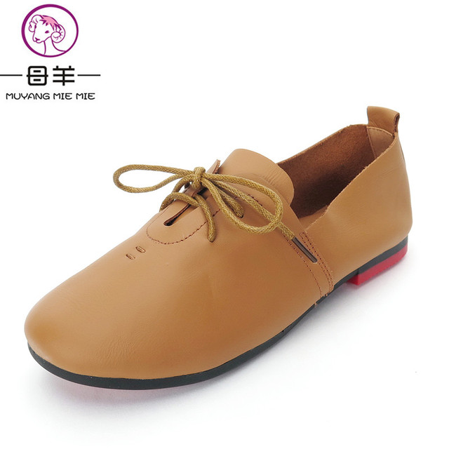 MUYANG MIE MIE Women Shoes Woman Genuine Leather Flat Shoes Fashion Autumn Female Comfortable Casual Lace Up Shoes Women Flats