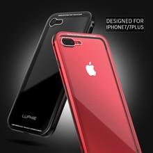 Butoir en aluminium Pour Apple iPhone 7 Cas Rouge Noir Plus iPhone7 Cas Transparent Couvercle En Verre Pour Apple iPhone 7 Plus le Cas de luxe