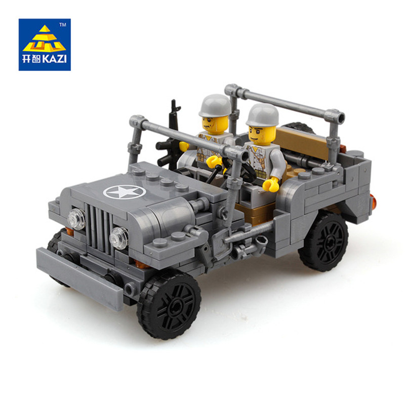 KAZI Military US Willys MB Jeep Airborne Force Building Blocks Compatible Legoe City Educational Enlighten Toy For Children Gift