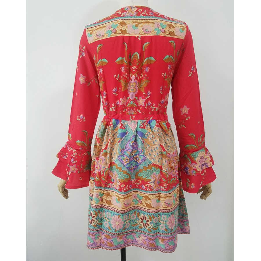 TEELYNN богемное красное мини-платье 2018 вискоза цветочный принт длинный рукав шнурок талия Свободное длинное платье с длинными рукавами Boho женское платье vestido