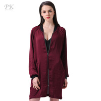 PK Oversized Long Bomber Jacket Women Spring Basic Coats 2017 100 Polyester Satin Chiffon Raglan Sleeve