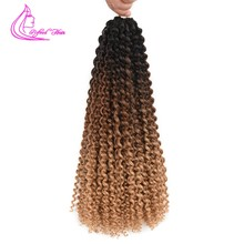 "Spring Passion Twist 18"" Black Brown Ombre Braiding Hair Extensions Crochet Braids Synthetic Curly Hair For Braid 22strands/pc(China)"